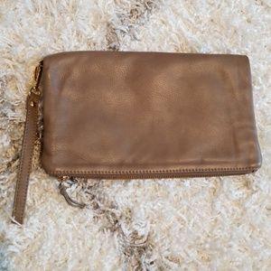 Gray Genuine Leather Foldover Clutch